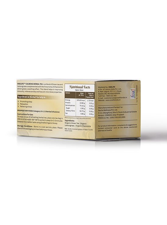 Picture of Onelife Calming Herbal Tea: Combination of Green Tea & Lemongrass - Chamomile - 25 Bags