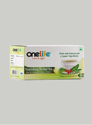 Picture of Onelife Nourishing Herbal Tea: Combination of Green Tea, Lemongrass, Hibiscus & Moringa - 25 Bags