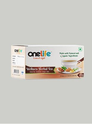 Picture of Onelife Wellness Herbal Tea: Combination of Green Tea, Cinnamon, Ginger & Tulsi - 25 Bags