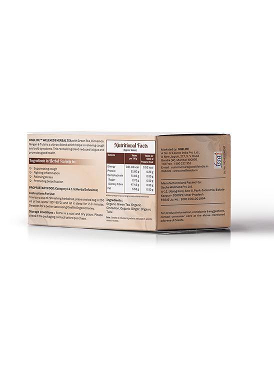 Picture of Onelife Wellness Herbal Tea: Combination of Green Tea, Cinnamon, Ginger & Tulsi - 25 Bags