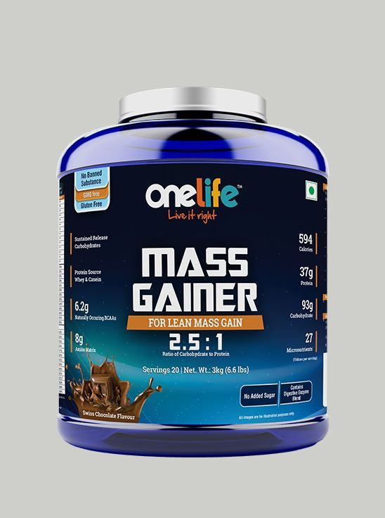 Picture of Onelife Mass Gainer: For Lean Mass & Muscle Gain - Chocolate - 3kg