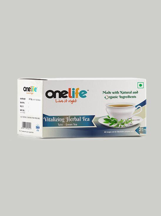Picture of Onelife Vitalizing Herbal Tea: Combination of Green Tea & Tulsi - 25 Bags
