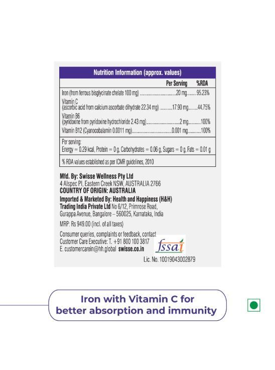 Picture of Swisse Ultiboost Iron Supplement with Vitamin C, Vitamin B6 & Vitamin B12 -30 Tablets