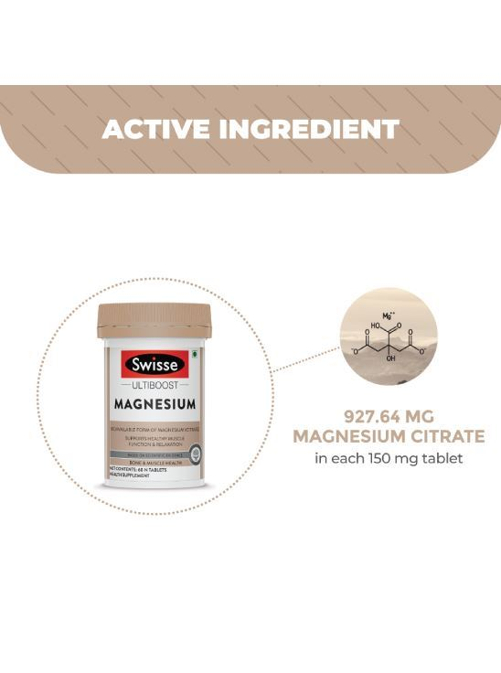 Picture of Swisse Ultiboost Magnesium Supplement for Immunity, Muscle Energy & Heart Health – 60 Tablets