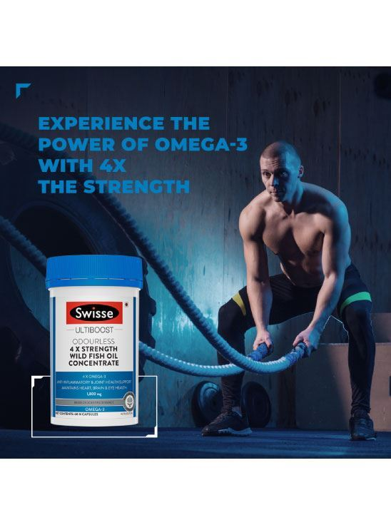 Picture of Swisse Ultiboost Odourless 4X Strength Wild Fish Oil Supplement with (1800MG)- 60 Tablets