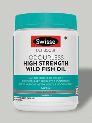 Picture of Swisse Ultiboost Odourless High Strength Wild Fish Oil with (1500 mg) 200 Tablets