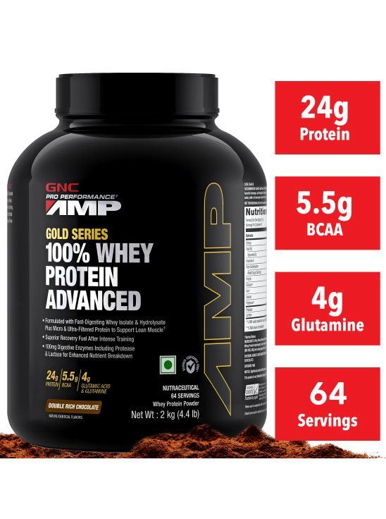 Picture of GNC Amp Gold Series 100% Whey Protein Advanced Double Rich Chocolate- 4.4 lbs