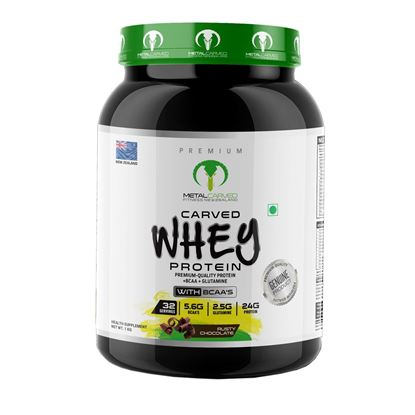Picture of Metal Carved Naturally Flavored, Ultra-Premium Grass-Fed Whey Blend, 24g Protein | 5.6g BCAA's | 2.5g Glutamine | 32 Servings, 1 kg (Rusty Chocolate)