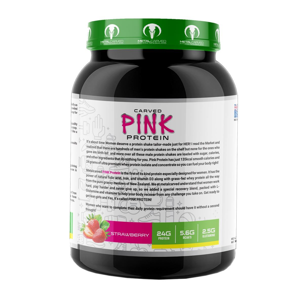 Picture of Metal Carved Naturally Flavored, Ultra-Premium Grass-Fed Women's Whey Blend, 24g Protein    5.6g BCAA's   2.5g Glutamine   32 Servings, 1 kg (Strawberry)