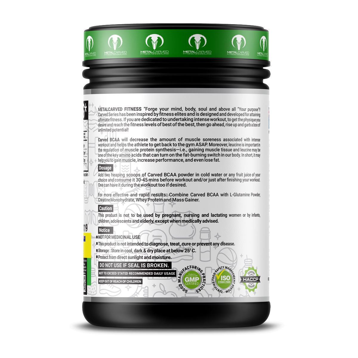 Picture of Metal Carved BCAA | 100% Vegan | Plant Based |  - Green Apple 400 grams (40 servings)