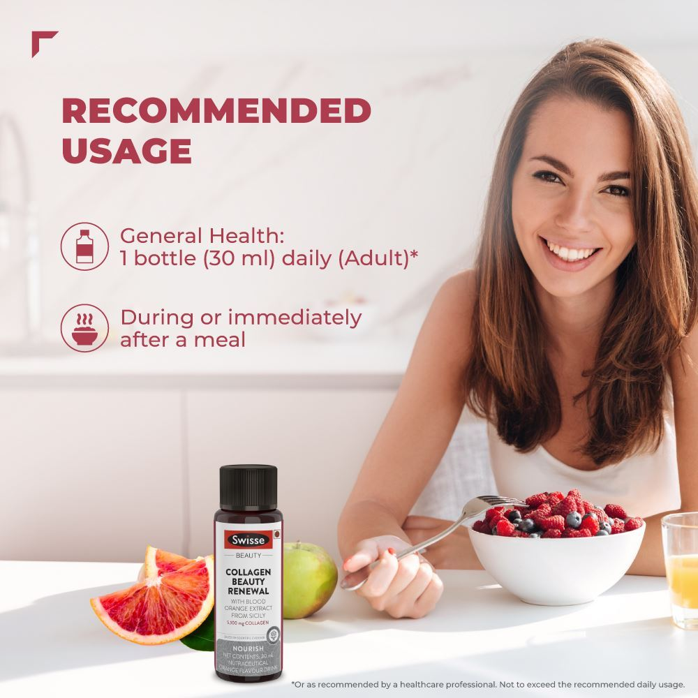 Picture of Swisse Collagen Beauty Renewal Supplement with Blood Orange Extract - ( pack of 7 bottles- 30 ml each )