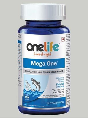 Picture of Onelife Mega One Cold Water Molecularly Distilled Ultra Purified Fish Oil Double Strength 1000mg (EPA - 360: DHA - 240) 30 Softgels (monthly pack).