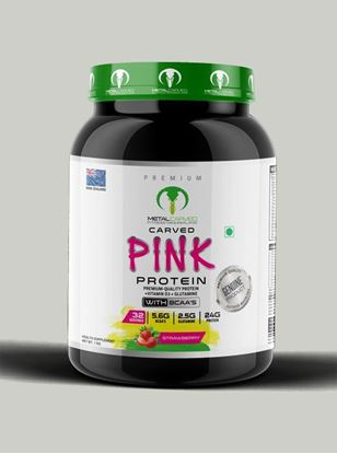 Picture of Metal Carved Naturally Flavored, Ultra-Premium Grass-Fed Women's Whey Blend, 24g Protein |  5.6g BCAA's | 2.5g Glutamine | 32 Servings, 1 kg (Strawberry)