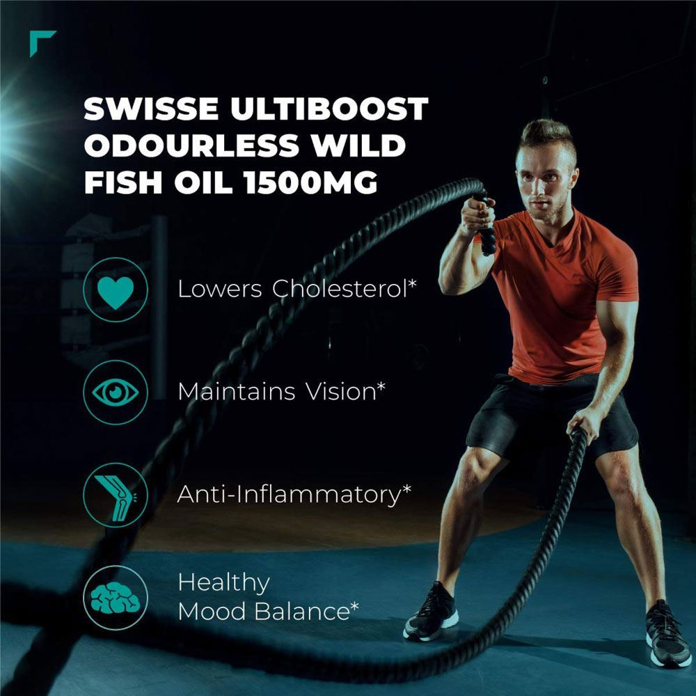 Picture of Swisse Ultiboost Odourless High Strength Wild Fish Oil with (1500 mg) – 60 Capsules