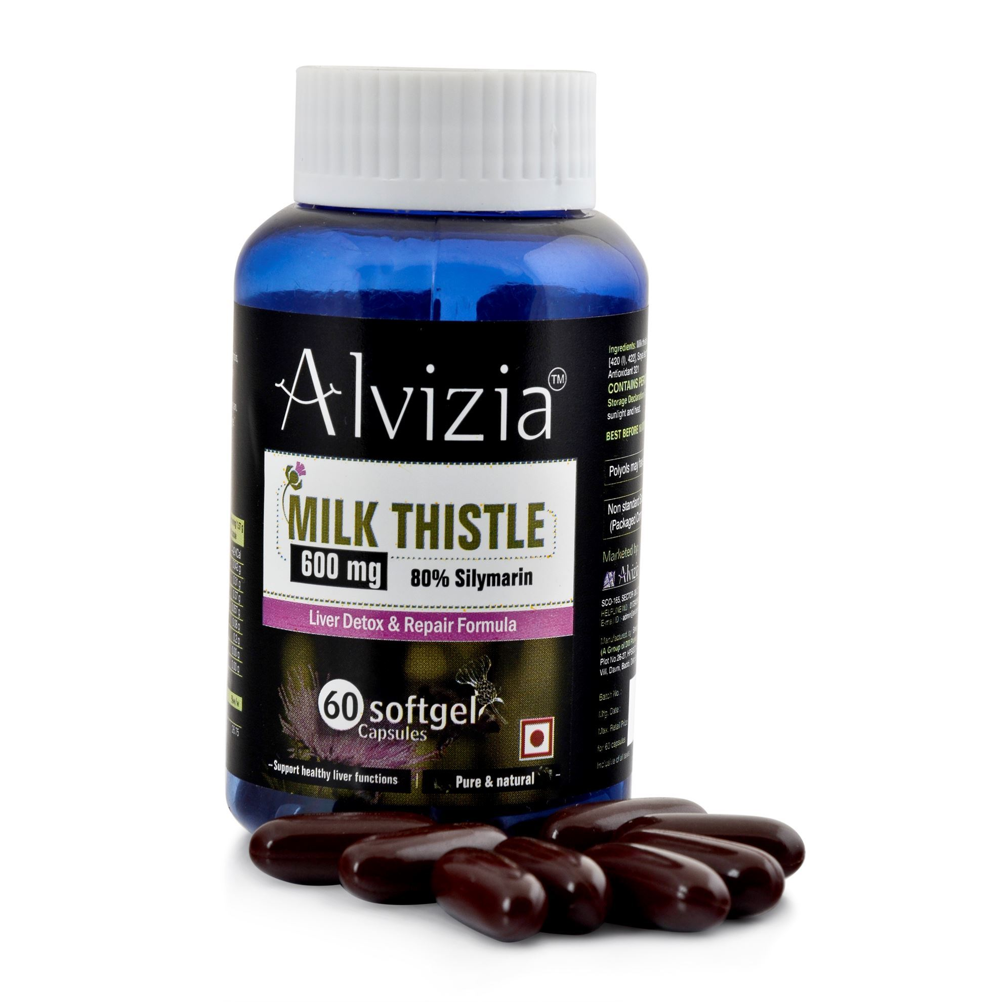 Picture of Alvizia Milk Thistle 600 mg Softgel 60 Capsules