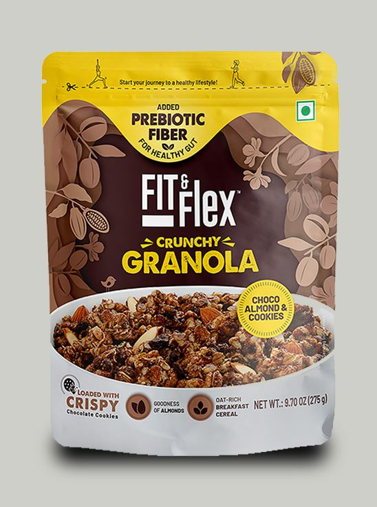 Picture of Fit & Flex Granola-Oat Rich Breakfast Cereal - Choco Almond & Cookies (275 g, Pouch)