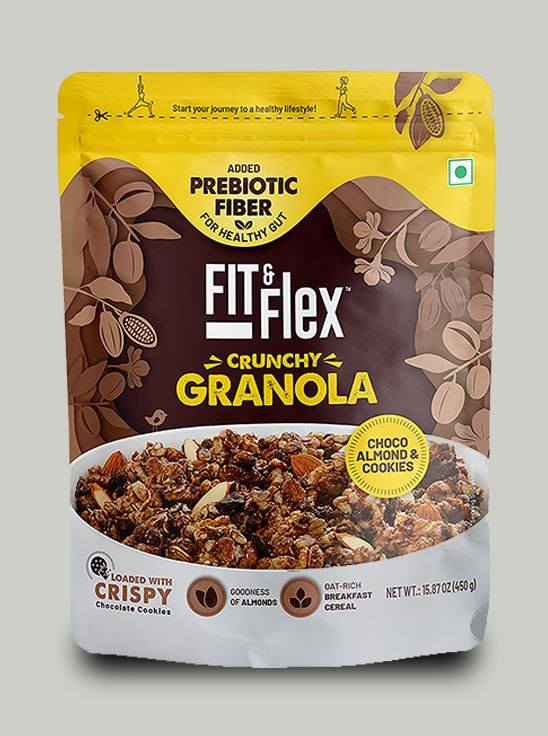 Picture of Fit & Flex Granola-Oat Rich Breakfast Cereal - Choco Almond & Cookies (450 g, Pouch)
