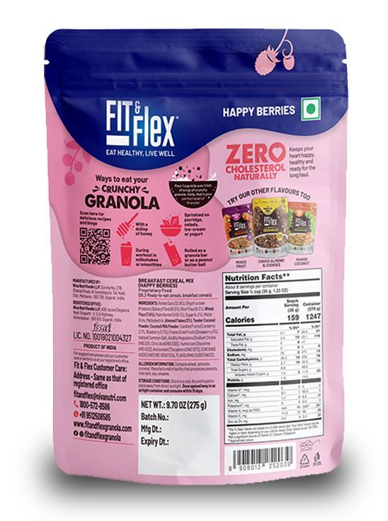 Picture of Fit & Flex Granola-Oat Rich Breakfast Cereal with Real Fruits - Happy Berries (275 g, Pouch)