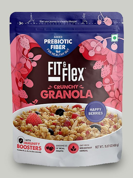 Picture of Fit & Flex Granola-Oat Rich Breakfast Cereal with Real Fruits - Happy Berries (450 g, Pouch)