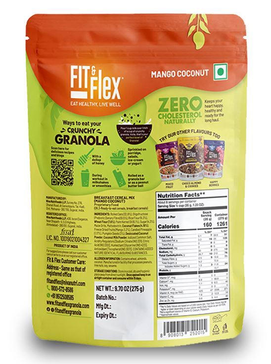 Picture of Fit & Flex Granola-Oat Rich Breakfast Cereal with Real Fruits - Mango Coconut(275 g, Pouch)