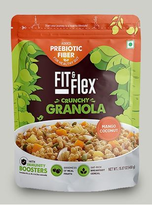 Picture of Fit & Flex Granola-Oat Rich Breakfast Cereal with Real Fruits - Mango Coconut(450g, Pouch)