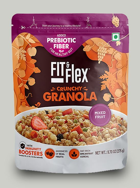 Picture of Fit & Flex Granola-Oat Rich Breakfast Cereal with Real Fruits - Mixed Fruits(275 g, Pouch)