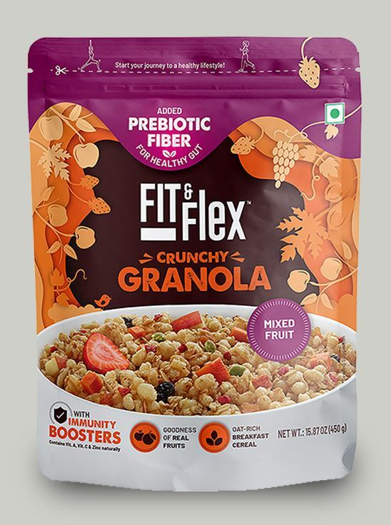 Picture of Fit & Flex Granola-Oat Rich Breakfast Cereal with Real Fruits - Mixed Fruits (450 g, Pouch)