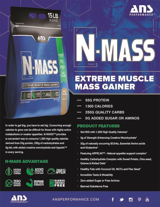 Picture of ANS Performance N mass Extreme Muscle Mass Gainer Chocolate 15 lbs