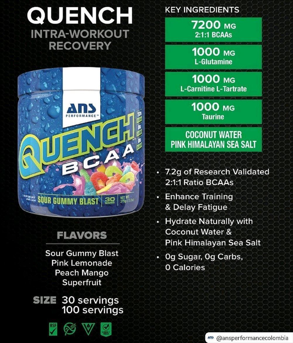 Picture of ANS Performance QUENCH BCAA Preworkout Pink Lemonade 30 servings