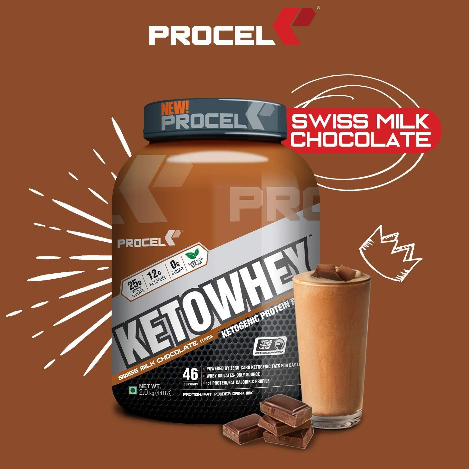 Picture of PROCEL KETOWHEY® Ketogenic Protein Powder with Ketofuel® 200g Trial Pack (Swiss Milk Chocolate) (Short Shelf Life)