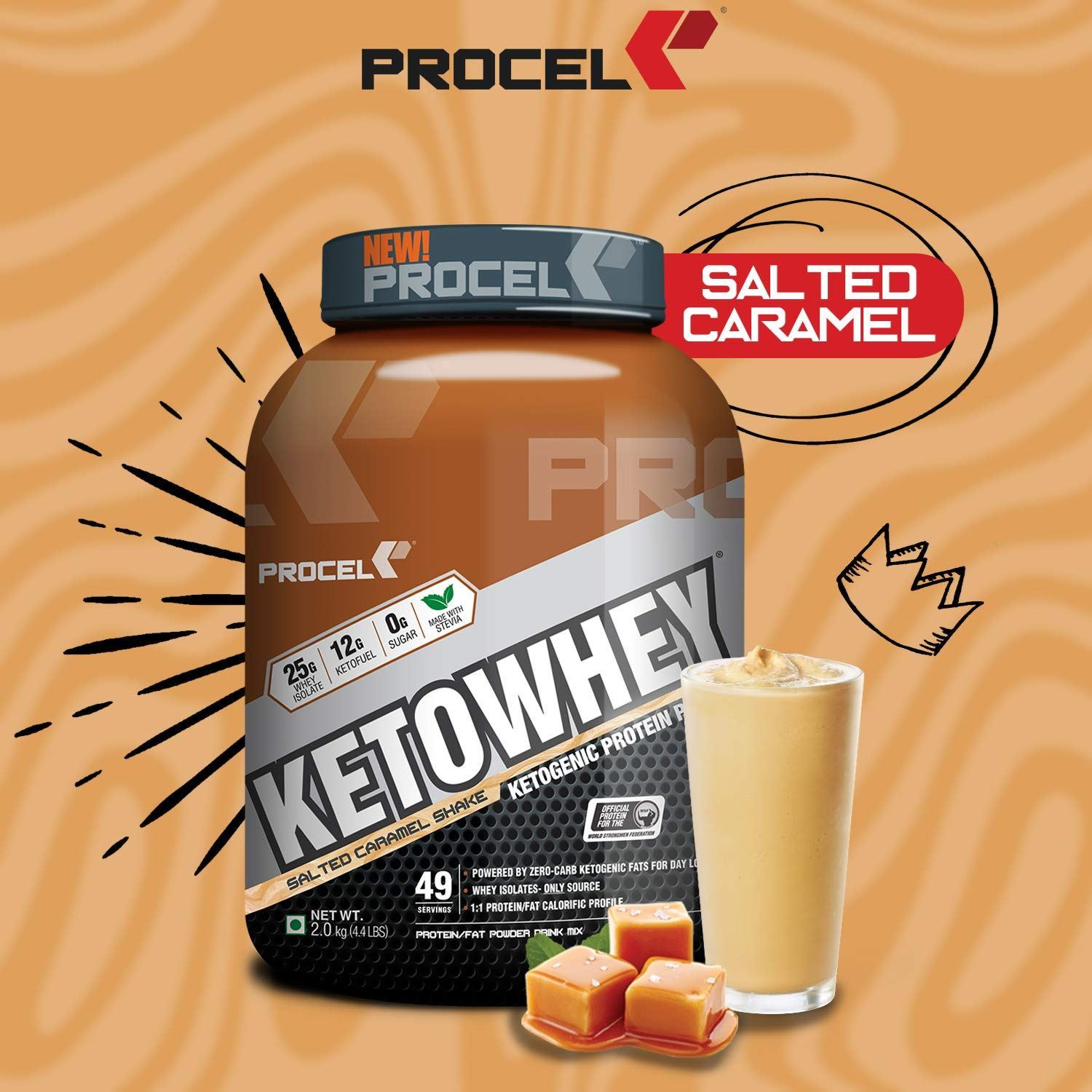 Picture of PROCEL KETOWHEY® Ketogenic Protein Powder with Ketofuel® 2kg (Salted Caramel)