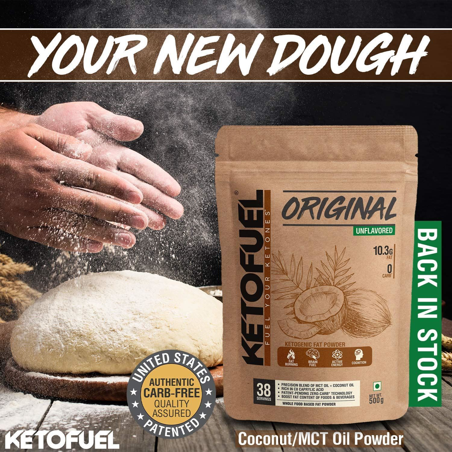 Picture of Ketofuel® MCT Oil Powder with Coconut Oil for Coffee, Shakes & Baking 500g (Unflavored, Patented)