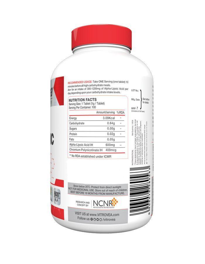 Picture of Vitrovea Alpha Lipoic Acid Plus Double Strength Insulin Mimicker 600 mg Universal Antioxidant 100 Tablets
