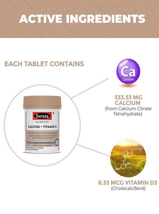 Picture of Swisse Ultiboost Vegan Calcium + Vitamin D Supplement for Immunity, Bones & Muscle Health -  60 Tablets