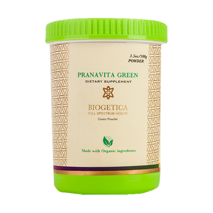 Picture of Biogetica's Pranavita Green – Balanced Green Drink - Superfood Complex - Packed with Vitamins and Micro-Nutrients, Naturally Anti-Aging – 3.5 oz / 100 gm.