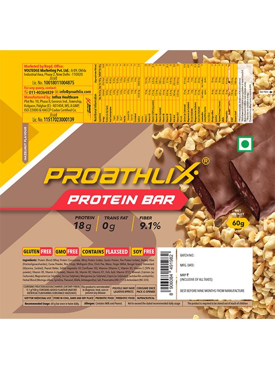 Picture of Proathlix Protein Bar with Herbal Blend & No Trans Fat 18g Protein - 12 Bars Hazelnut