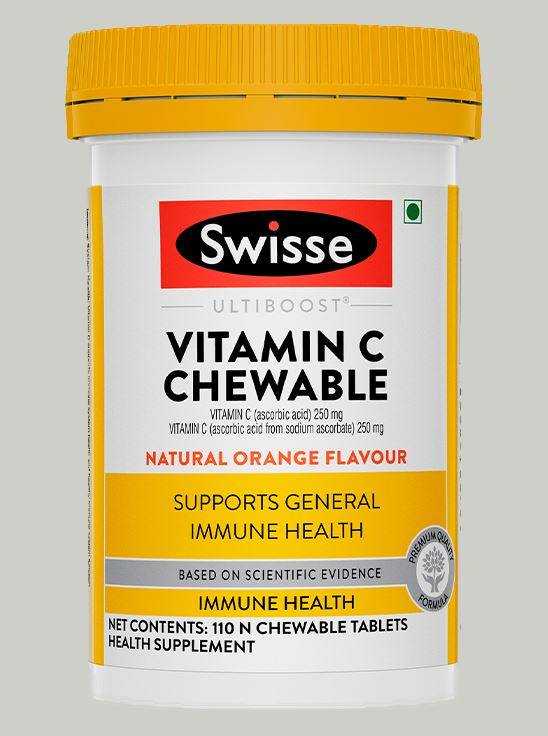Picture of Swisse Ultiboost Vitamin C Chewable tablets for Immunity, Natural orange flavour - 110 tablets