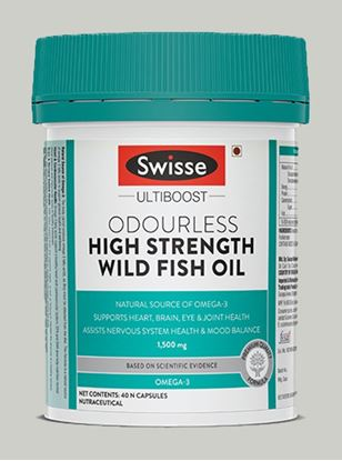 Picture of Swisse Ultiboost Odourless High Strength Wild Fish Oil With 1500 Mg Omega 3 For Heart Brain Joints And Eyes - 40 Capsules