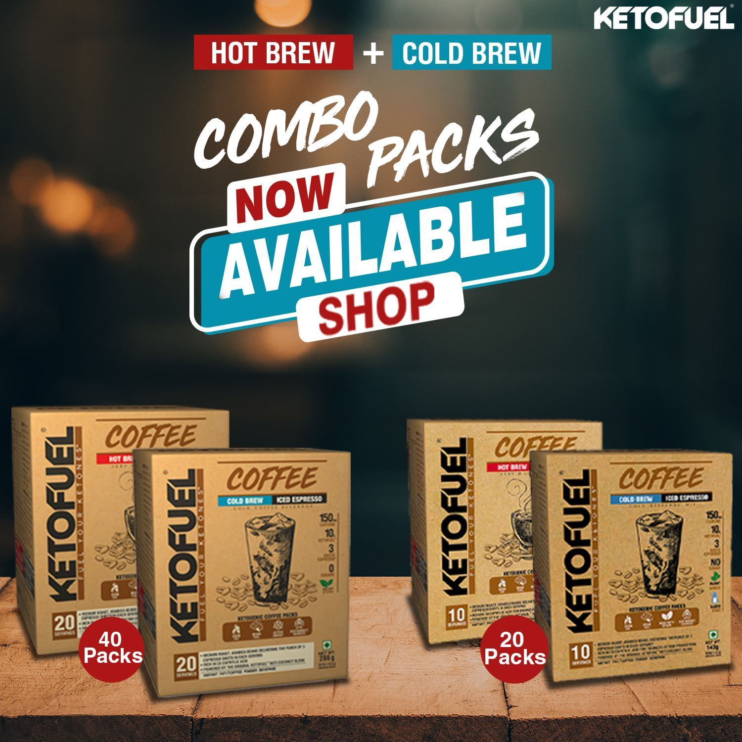 Picture of Ketofuel® MCT Keto Coffee Hot Brew/Cold Brew Combo Pack (10+10 Packs) 20 Servings